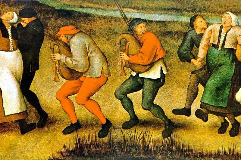 Breughel painting of peasants dancing